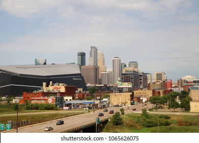 MINNEAPOLIS, MINNESOTA, USA - AUGUST 06, 2017. Cityscape of Minneapolis downtown skyline with street view.