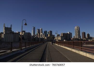 MINNEAPOLIS, MINNESOTA, USA - DECEMBER 23, 2017: - The skyline of downtown Minneapolis, Minnesota's largest city, on a chilly December morning.
