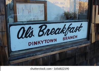 Minneapolis, Minnesota / USA - July 19 2015:  Close-up of Al's Breakfast Sign in Window, Dinkytown