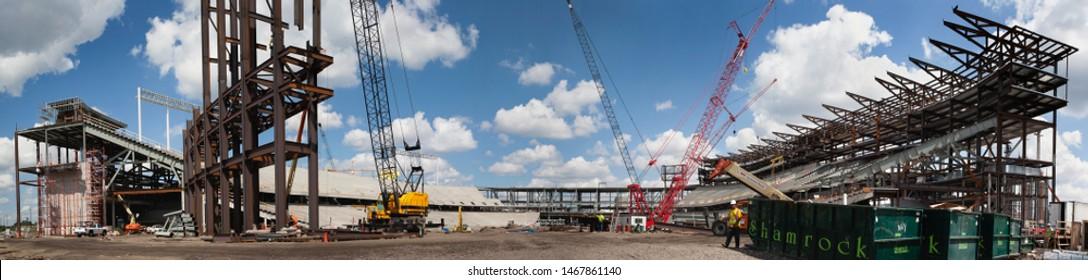 MINNEAPOLIS, MINNESOTA, USA - JULY 22, 2008: Panorama of construction of TCF Bank Stadium on the University of Minnesota campus.