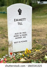 Minneapolis, Minnesota, USA, June 20, 2020. Symbolic headstone for Emmett Till at the Say Their Names cemetery and near George Floyd memorial site. Cemetery honors African Americans killed by police.