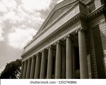 Minneapolis, Minnesota, USA - June 24, 2007: Northrop Auditorium on the University of Minnesota campus (black and white)