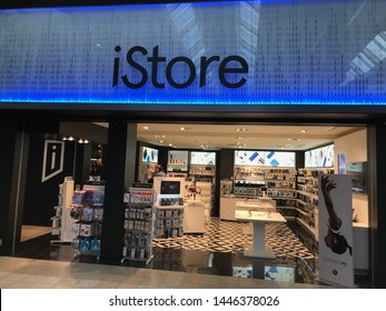 Minneapolis, Minnesota/ USA. June 28, 2019. The entrance to an Apple iStore at the airport in Minnesota.