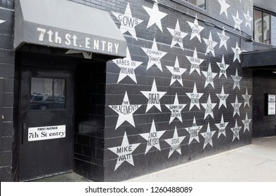 MINNEAPOLIS, MINNESOTA USA - MAY 12, 2016: Wall of musicians stars at First Avenue Nightclub 7th St Entry.