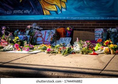 Minneapolis, Minnesota / USA - May 29 2020: george floyd memorial honoring black lives matter in minneapolis riots