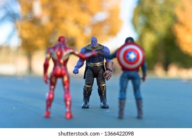 Minneapolis, Minnesota / USA - October 21, 2018: Iron Man and Captain America team up  against Thanos.