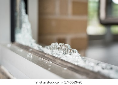 Minneapolis, Minnesota/United States of America - May 29, 2020: Broken glass following riots and looting in Minneapolis in response to the death of George Floyd.