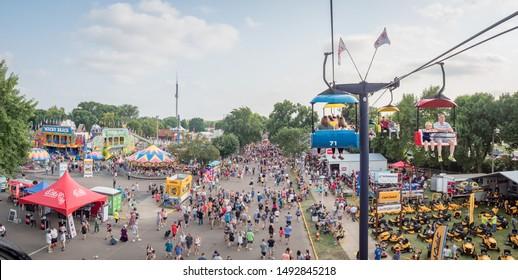 Minneapolis, Minnesota/USA - August 25 2018: Crowds and gondola ride at Minnesota State Fair 2018