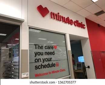 Minneapolis, Minnesota/USA. March 27, 2019. The exterior of a Minute Clinic that is closed for the night  in a Target store.
