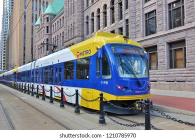 MINNEAPOLIS, MN -15 SEP 2018- View of an electric tram from Metro Transit, the primary public transportation operator in the Minneapolis–Saint Paul area in Minnesota.