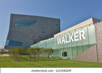 MINNEAPOLIS, MN -15 SEP 2018- View of the Walker Art Center, a multidisciplinary contemporary art center located in the Lowry Hill neighborhood of Minneapolis, Minnesota.