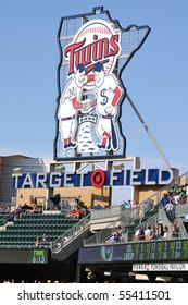 MINNEAPOLIS, MN - JUNE 15: View of Minnesota Twins Sign at Target Field before Major League Baseball game between the Colorado Rockies and the Minnesota Twins on June 15, 2010 in Minneapolis, MN