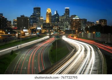 Minneapolis, MN - June 20, 2017: Traffic races along I-35W towards Minneapolis, Minnesota. (4525)