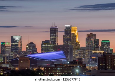 MINNEAPOLIS, MN - JUNE 2018 - A Close Up on Downtown Minneapolis Skyscrapers as seen from Prospect Park during a Summer Twilight