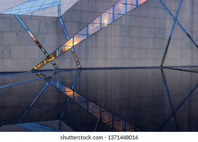 MINNEAPOLIS, MN - MARCH 2018 - The Unique McNamara Alumni Center at the University of Minnesota Illuminating during Twilight