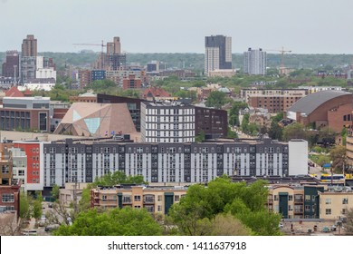 MINNEAPOLIS, MN - MAY 2019 - A Telephoto Detail Shot of the University of Minnesota Campus and High Rise Apartments in Northeast Minneapolis on an Overcast Spring Day