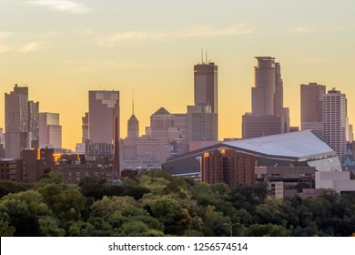 MINNEAPOLIS, MN - OCTOBER 2017 - A Telephoto Shot on Downtown Minneapolis Skyline during a Beautiful Fall Sunset