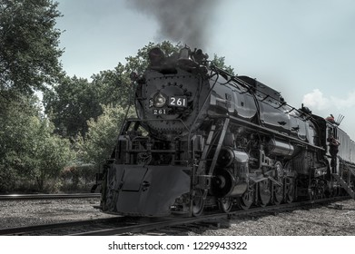 MINNEAPOLIS, MN SEPTEMBER 8, 2018: The Milwaukee Road #261 steam train sits in rail yard prior to its annual Fall Tour from Minneapolis, MN to Glencoe, MN.