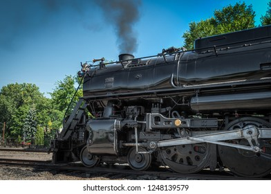 MINNEAPOLIS, MN  SEPTEMBER 8, 2018: Front of the Milwaukee Road #261 steam train sitting in rail yard prior to its annual Fall Tour from Minneapolis, MN to Glencoe, MN.
