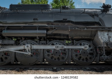 MINNEAPOLIS, MN - SEPTEMBER 8, 2018: Side of the Milwaukee Road #261 steam train sitting in rail yard prior to leaving for its annual Fall Tour from Minneapolis, MN to Glencoe, MN.