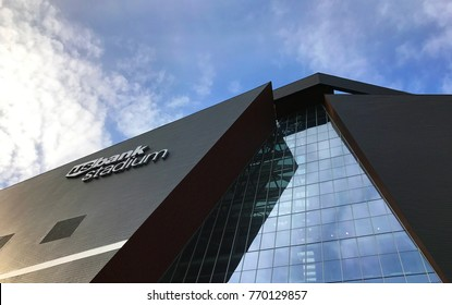 Minneapolis, MN / United States - October 15, 2017: US Bank Stadium Site of the 2018 Super Bowl View 2 Creative View with Blue Sky