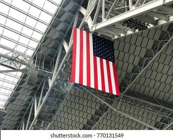 Minneapolis, MN / United States - October 15, 2017: US Bank Stadium Roof with Flag taken during the National Anthem