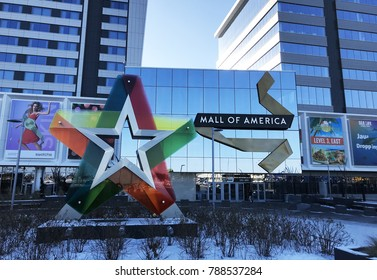 Minneapolis, MN/ USA December 31, 2017: Mall of America- Front Straight on Exterior
