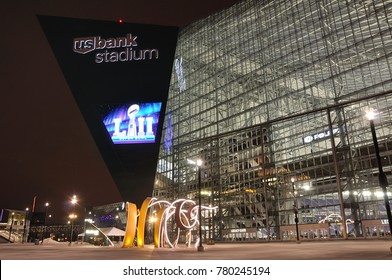 MINNEAPOLIS, MN, USA - February 6, 2017: Minnesota Vikings US Bank Stadium in Minneapolis at Night, site of Super Bowl LII (52)