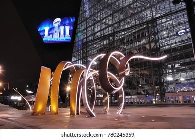 MINNEAPOLIS, MN, USA - February 6, 2017: Minnesota Vikings US Bank Stadium in Minneapolis at Night, site of Super Bowl LII (52)