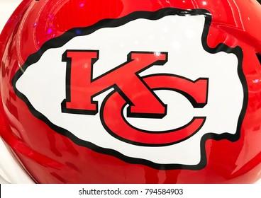 Minneapolis, MN/ USA - January 11, 2018 - Kansas City Chiefs Jumbo Helmet on display.