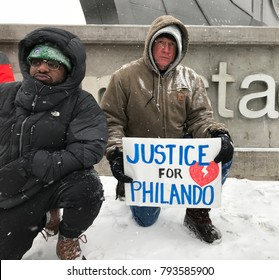 Minneapolis, MN/ USA- January 14, 2018- NFL Anthem protest on game day in front of US Bank Stadium for the NFC Playoff Game.