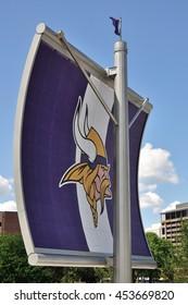 MINNEAPOLIS, MN, USA - JULY 15 2016:Minnesota Vikings Logo on Sail Near US Bank Stadium in Minneapolis