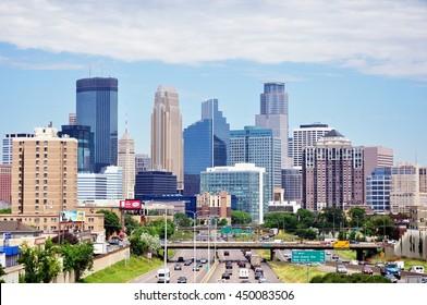 MINNEAPOLIS, MN, USA - JUNE 30 2016: Downtown Minneapolis Minnesota Skyline on a Sunny Morning