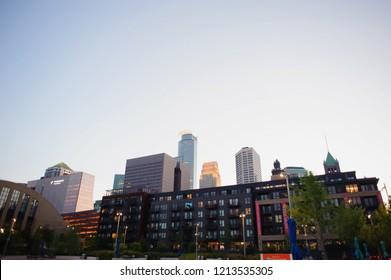 MINNEAPOLIS, MN, USA - May 5 2017: Downtown Minneapolis Minnesota.Us bank stadium.