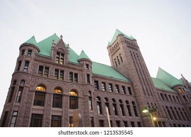 MINNEAPOLIS, MN, USA - May 5 2017: Downtown Minneapolis Minnesota.Us bank stadium. Minneapolis City Hall.