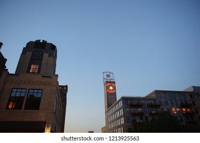 MINNEAPOLIS, MN, USA - May 5 2017: Downtown Minneapolis Minnesota.Us bank stadium. Mill City Museum.