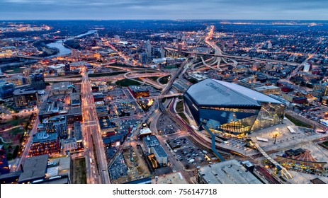 MINNEAPOLIS, MN, USA - November 15 2016 : Minnesota Vikings US Bank Stadium in Minneapolis at dusk