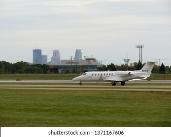 Minneapolis, MN / USA - October 21st 2017: Privately owned Learjet 45 at Minneapolis-Saint Paul International Airport (KMSP) taxiing for departure.