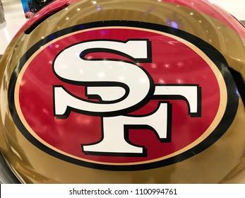 Minneapolis, MN/USA December 31, 2017, San Francisco 49ers Jumbo Helmet on Display for Super Bowl LII.