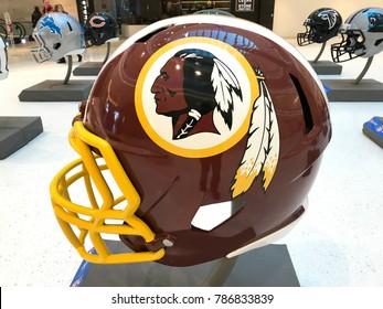 Minneapolis, MN/USA December 31, 2017, Mall of America Washington Redskins jumbo helmet for the Super Bowl