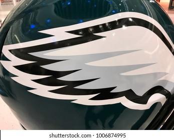 Minneapolis, MN/USA- December 31, 2018- Closeup of a Jumbo Helmet of the Super Bowl NFC team- The Philadelphia Eagles.
