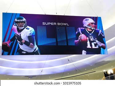 Minneapolis, MN/USA- February 1, 2018- Super Bowl banner featuring Tom Brady and Nick Foles in the Mall. The two quarterbacks go head to head on Sunday in the big game.