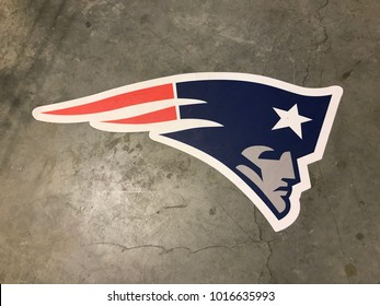 Minneapolis, MN/USA- February 2, 2018. New England Patriots decal on the ground in the Mall in Minneapolis.