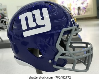 Minneapolis, MN/USA- January 10, 2017-New York Giants Jumbo Helmet set up for the Super Bowl LII.