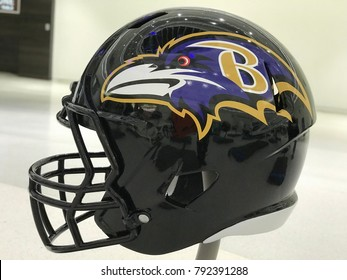 Minneapolis, MN/USA- January 10, 2018- Baltimore Ravens helmet on display.