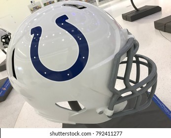 Minneapolis, MN/USA- January 10, 2018. Jumbo Helmet of the Indianapolis Colts on display.