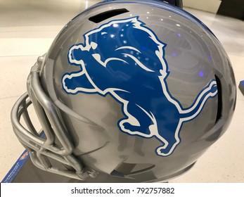 Minneapolis, MN/USA - January 10, 2018 Detroit Lions Jumbo helmet on display.