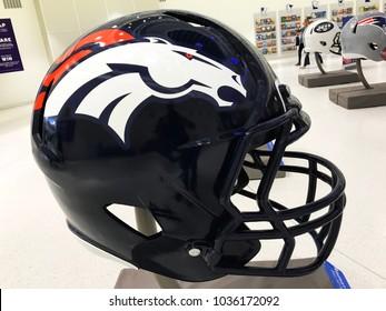 MINNEAPOLIS, MN/USA- January 10, 2018-Jumbo helmet on display of the Denver Broncos.