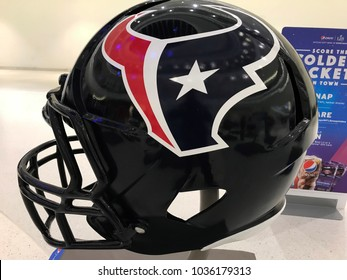 MINNEAPOLIS, MN/USA- January 10, 2018-Jumbo helmet on display of the Houston Texans.