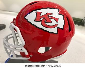 Minneapolis, MN/USA January 11, 2018- Football helmet on display at the mall.